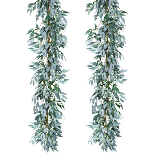 USA 2pcs Artifical Gray Willow Leaves Decor Garland Faux Silk Wedding Backdrop - $17.50