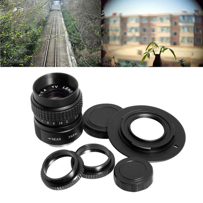 CCTV 25mm f/1.4 C Mount TV Movie Camera Lens+ Micro 4/3 M4/3 Adapter Black LF10