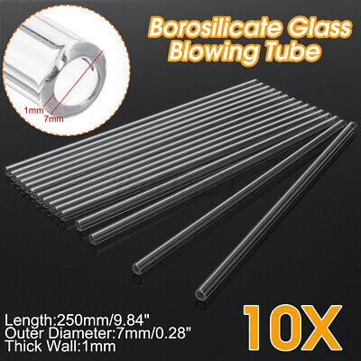 10pcs 250mm7mm1mm Thick Borosilicate Tubing Glass Pyrex Blowing Tube Lab Kit