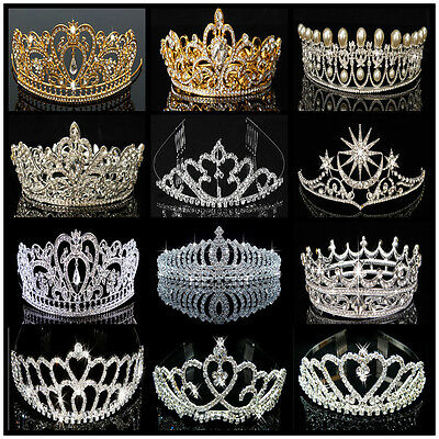 US Bridal Wedding Crystal Flower Tiara Crown Pearl Rhinestone Hair Headband ! (Pearl Tiara)
