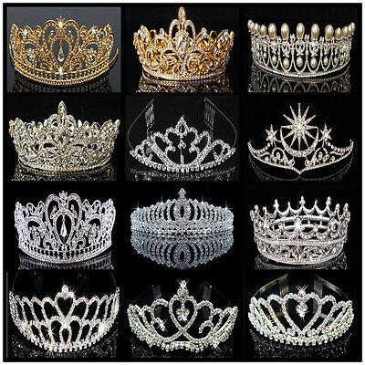 US Bridal Wedding Crystal Flower Tiara Crown Pearl Rhinestone Hair Headband