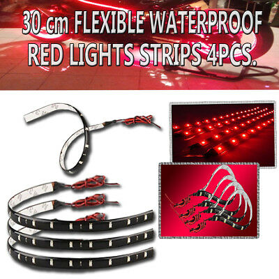Zone Tech 4x  30cm 15 LED Car Flexible Waterproof Lighting Strips Strings Red