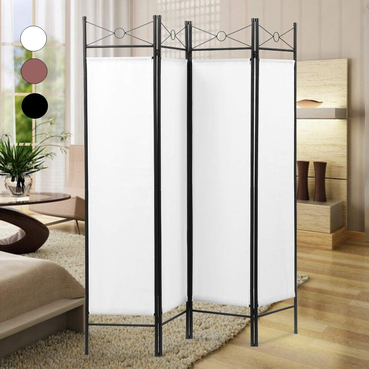6ft 4 panel room divider foldable privacy