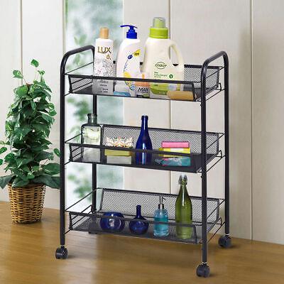 3 Tier Mesh Rolling File Utility Cart Home Office Kitchen Storage Basket Black