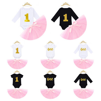 Birthday Romper Tutu Skirt Cake Smash Clothes 2pcs Outfits for Toddler Baby Girl - Holiday Clothing For Toddlers