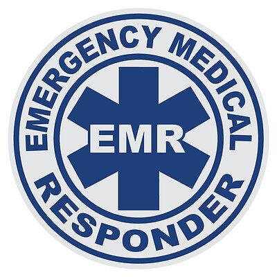 Emergency Medical Responder EMR Small Round Reflective Firefighter Decal Sticker