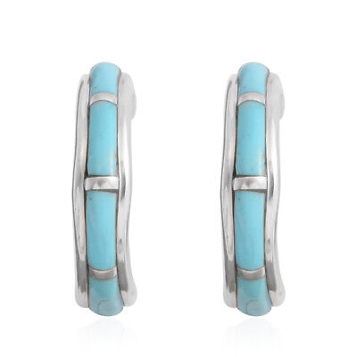 Women's 925 Sterling Silver Santa Fe Style Turquoise Hoops Hoop Earrings Ctw 1.3