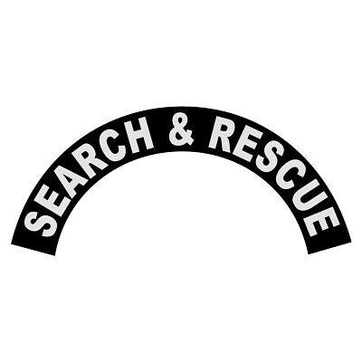 Search & Rescue White on Black Helmet Crescent Reflective Decal Sticker