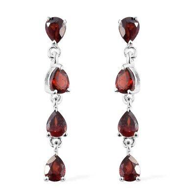 Women's 925 Sterling Silver Pear Garnet Tear Drop Dangling Earrings Cttw 1.7