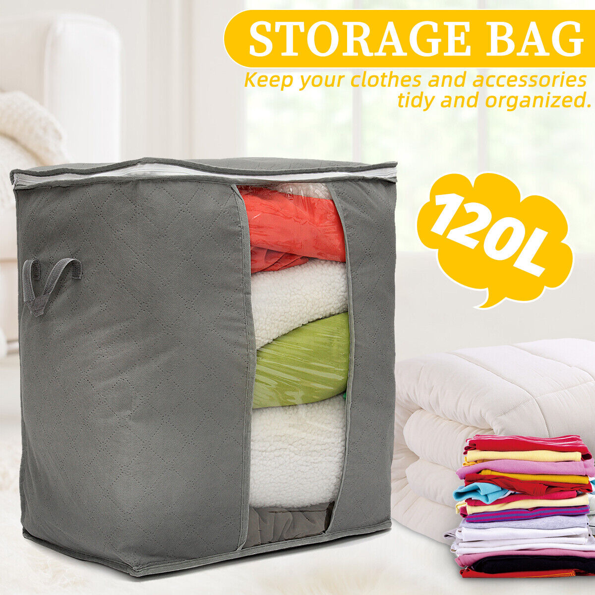 Foldable Bamboo Charcoal Clothes Storage Bag Box Blanket Closet Organizer Home & Garden