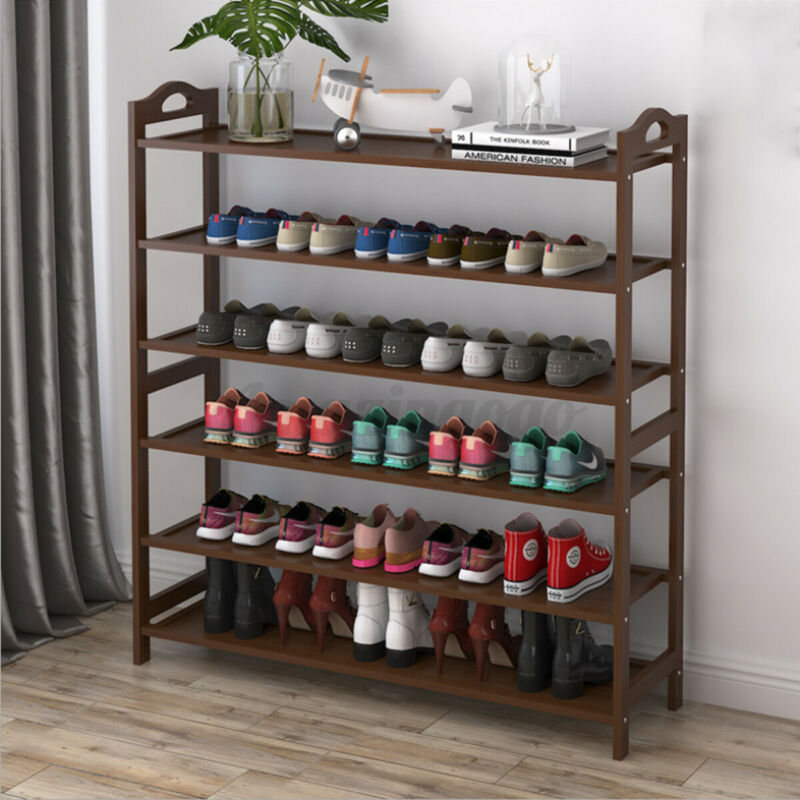6 Tier Bamboo Shoe Rack Entryway Shelf Holder Storage Organizer Home Furniture