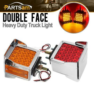 2pc Dual Face Chrome Stop Turn Tail Square 52 LED Amber/Red Stud Pedestal Lights