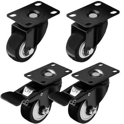 Set Of 4 Swivel Plate Casters 2.5 Polyurethane Wheels 2 With Total Lock Brake