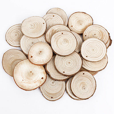 Wooden Wood Log Slices Natural Tree Bark Round Shape Tableware Decor - Wood Slice