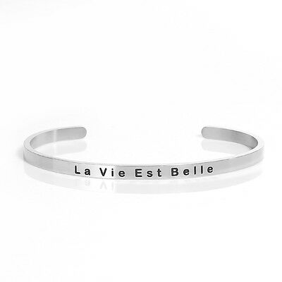 """Sexy Sparkles Stainless Steel """" La Vie Est Belle """"Life is Beautiful Positive Quo"""
