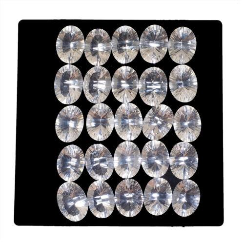 VVS 25 Pcs Natural White Quartz 16mm*12mm Oval Concave Cut Lusturous Gemstones