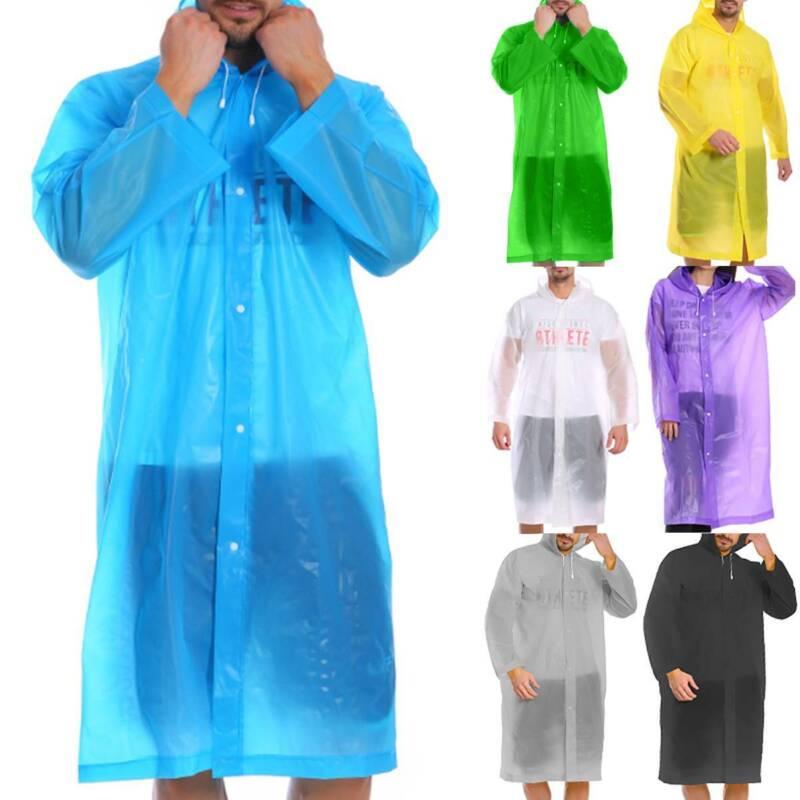 Regenmantel Herren Damen Wasserdichte Regenbekleidung Kapuze Festival Regenjacke