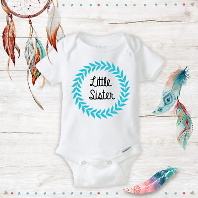 Boho Style Little Sister Border Newborn Onesies Infant Baby