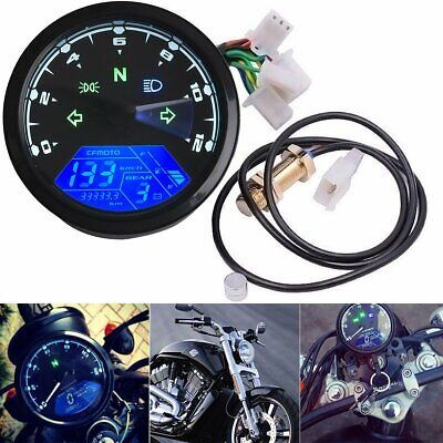 12000rpm Motorcycle Universal LCD Digital Speedometer Tachometer Odometer Marine