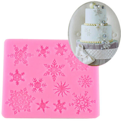 3D Silicone Mold Snowflake Fondant Christmas Cake Candy Baking Decor Diy (Christmas Decorating Candy)