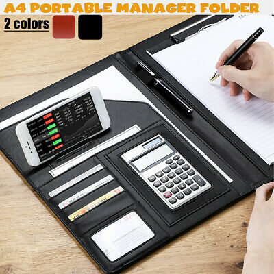 A4 Zipped Conference Folder Business Pu Leather Document Organiser Portfolio Bag