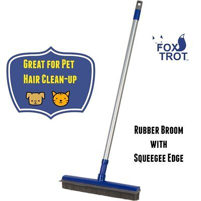 Fur Buster Rubber Broom with Squeegee - Pet Hair Removal -Dog Hair - Cat Hair -