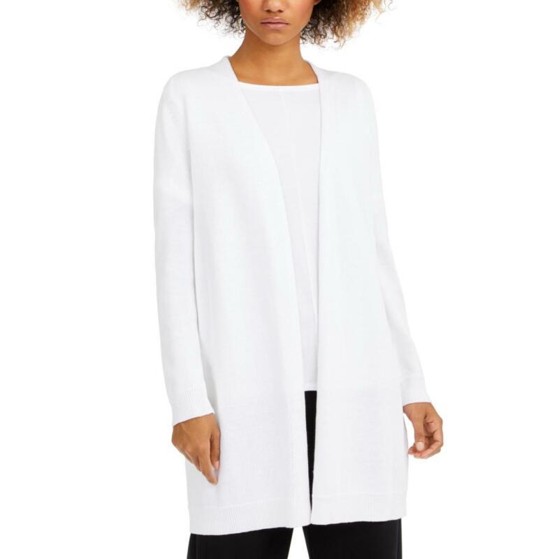 Eileen Fisher Womens Linen Blend Long Open Front Cardigan Sweater Top BHFO 8831