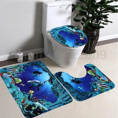 3Pcs/Set Bathroom Non-Slip Blue Sea Ocean Pedestal Rug+Lid Toilet Cover+Bath Mat