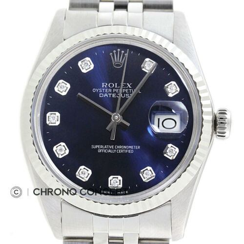 $2995.00 - Mens Rolex Datejust Blue Diamond Dial 18K White Gold / Stainless Steel Watch