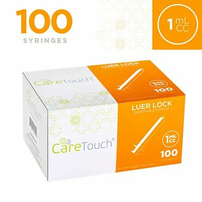 1ml Syringe Only With Luer Lock Tip - 100 Syringes By Care Touch No Needle