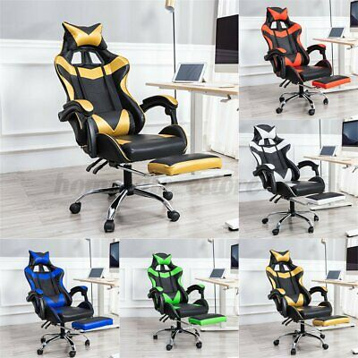 Leather Home Office Gaming Chair High Back Swivel Recliner Seat With Footrest