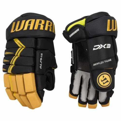 "$129 New Warrior Alpha Black Gold DX 3 Ice hockey gloves 11"" 14"" Senior Junior"