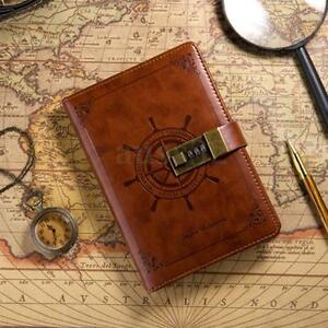 B6 Vintage Brown Leather Journal Blank Diary Note Book with Password Code Lock