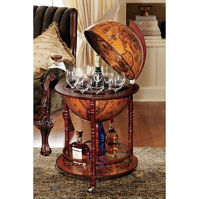Globe Liquor Bar Cabinet 16th Century Italian Replica Old World on Wheels Drinks