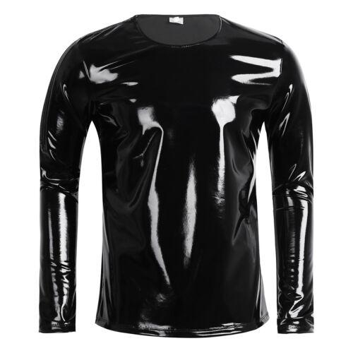 Men/'s Leather T-shirt Vest Crop Tops Police Blouse Halloween Clubwear Costume