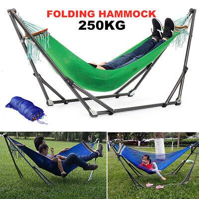 250kg Folding Double Hammock Steel Stand Indoor Outdoor Carr
