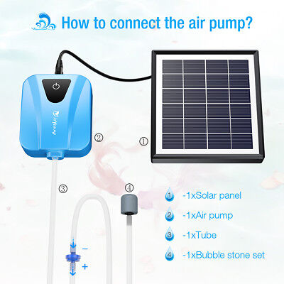 Solar Powered Water Oxygenator Pond Fish Tank Garden Pool Panel Air Pump Oxygen