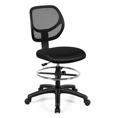Mesh Drafting Chair Mid Back Office Chair Adjustable Height Wfootrest Armless