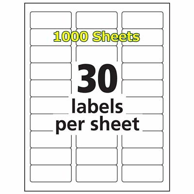 1 X 2 58 30000 Address Blank Labels Laser Ink Jet Mailing Adhesive 2.625 X 1