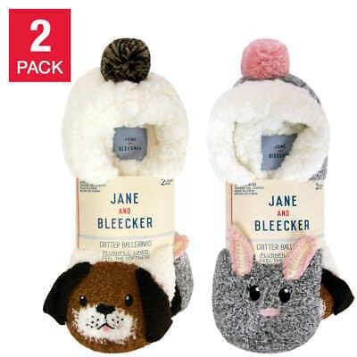 2 x Pair Jane & Bleecker  Ladies SLIPPER Socks Plushfill Lined | UK 2-8 EU 34-42