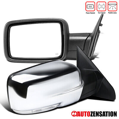 Fits 2009-2012 Dodge Ram 1500 Chrome Power Heated Pair Mirrors+LED Signal+Puddle
