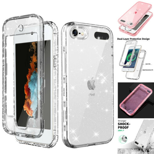 For Apple iPod Touch 7th/6th/5th Glitter Clear Shockproof Rugged Full Case Cover