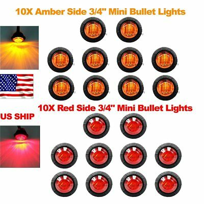 "20X Red Amber Mini 12V 3/4"" Round Marker Light Clearance 3 LED Bullet US Ship"