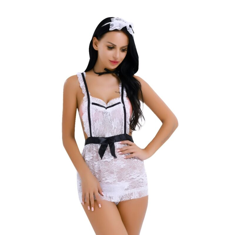 French Maid Cosplay Costume Apron Lingerie Outfit Fancy Dress G-string Sleepwear