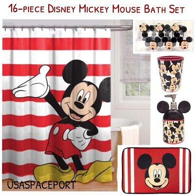 16pc MICKEY MOUSE BATH SET Shower Curtain+Hooks+Mat+Soap Pump+Toothbrush -