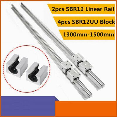 2x SBR12 L300-1500mm 12MM LINEAR SLIDE GUIDE SHAFT RAIL+4x SBR12UU Bearing Block