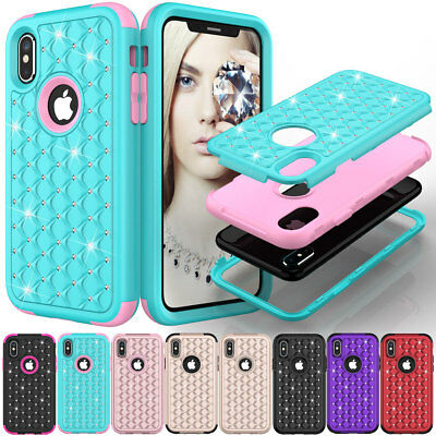 (Hybrid Rugged Shockproof Bling Hard Defender Case Cover For Apple iPhone X 10)