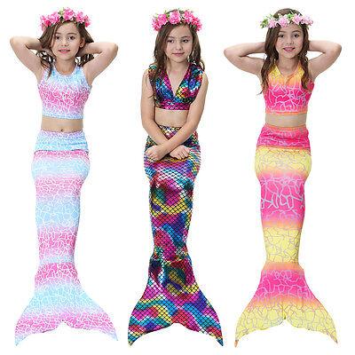 New Kids Girls 3Pcs Mermaid Tail Swimming Bikini Set Swimwear Mono Fin Swimmable](Mermaid Girl Costume)