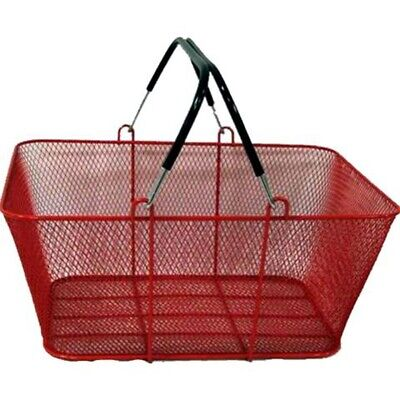 Perforated Metal Shopping Grocery Basket With Vinyl Handles - Red