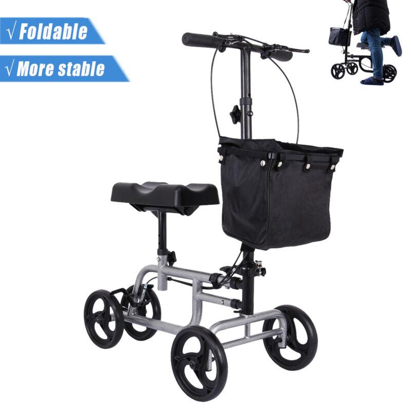 Foldable Medical Steerable Leg Knee Walker Scooter Crutch Al